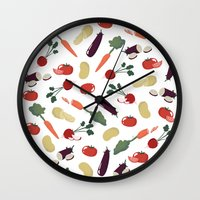 vegetable Wall Clocks featuring Vegetable by Ceren Aksu Dikenci