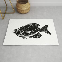 Crappie Fish Woodcut Rug