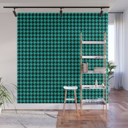 PreppyPatterns™ - Cosmopolitan Houndstooth - black and turquoise Wall Mural