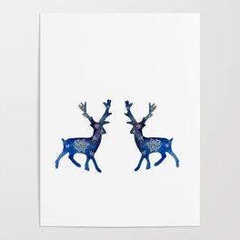 Winter Deer Snowflakes Poster