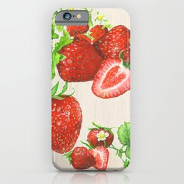 Strawberries and their Blossoms iPhone Case