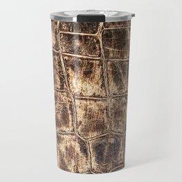 Alligator Skin // Tan and Brown Worn Textured Pattern Animal Print Travel Mug