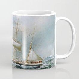 Vintage Sailboat Rolling up Sails Illustration (1904) Coffee Mug