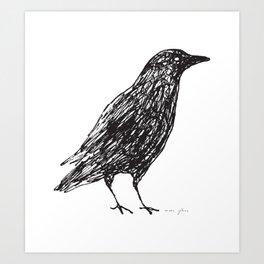 scribble crow Art Print