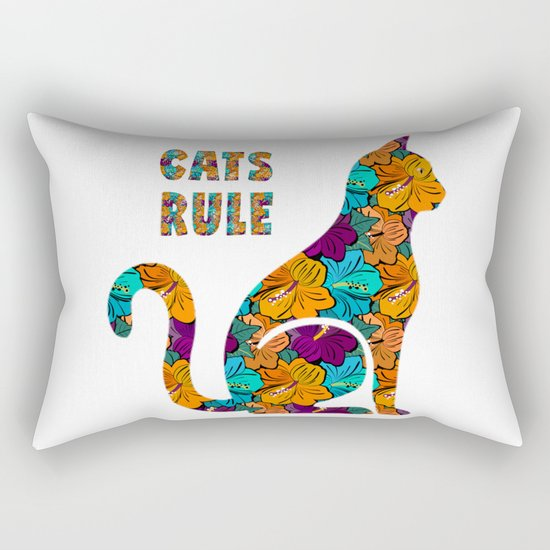 Cats Rule Silhouette With Hibiscus Flowers Rectangular Pillow