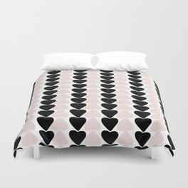 Hearts - black and nude pink palette Duvet Cover