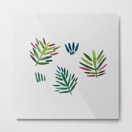 Trio of crayon color tropical leaves Metal Print