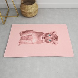 Pink Lion Cub Photography - Animal Art Rug