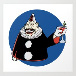 Creepy clown with a cocktail Art Print