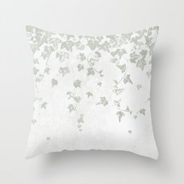 Soft Gray Green and White Trailing Ivy Leaf Print Throw Pillow