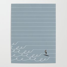 Surf Lines - Gray Poster