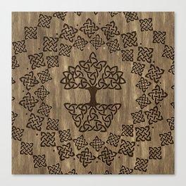 Triquetra - Tree of life -Wooden Texture Canvas Print
