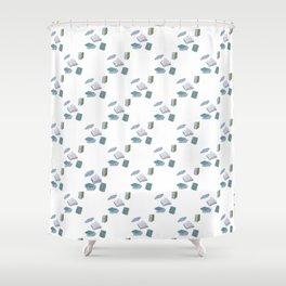 Books on Books (blue diamond) Shower Curtain