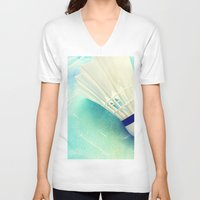 feather V-neck T-shirts featuring Feather by Yilan