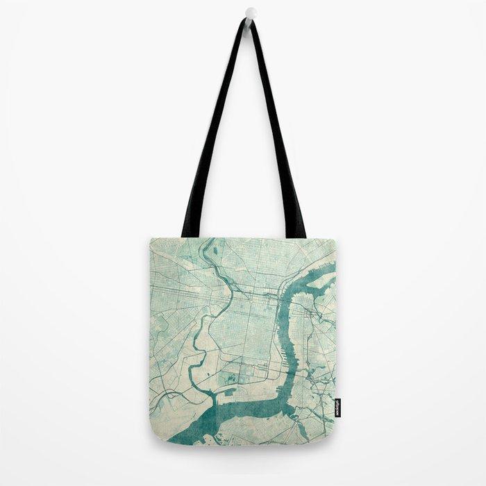 Philadelphia Map Blue Vintage Tote Bag