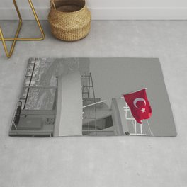 Boat with turkish flag Rug
