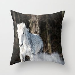Tromping through the snow Throw Pillow