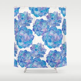Rosette Succulents – Blue Palette Shower Curtain