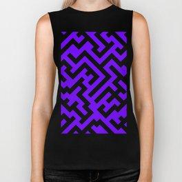 Black and Indigo Violet Diagonal Labyrinth Biker Tank