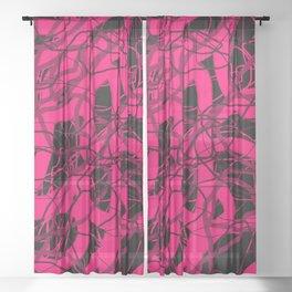 Hot Pink & Black Abstract Digital Painting Sheer Curtain