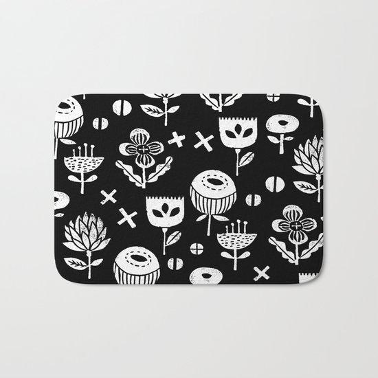 Linocut floral florals minimal scandinavian minimalist art print pattern black and white Bath Mat