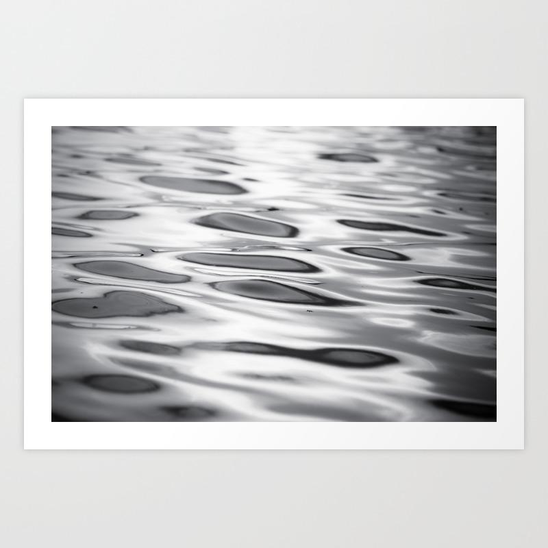 Black and white ocean water ripple photography grey wave ripples gray waves beach coastal art print