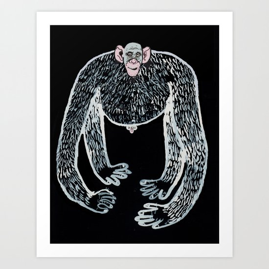 ape and his little friend Art Print