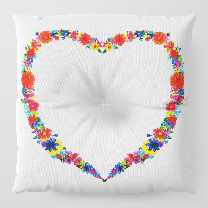 heart made of flowers on a pink background . Artwork Floor Pillow