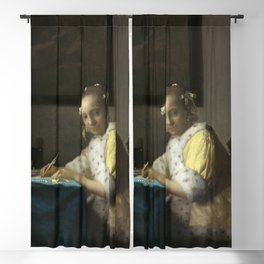 A Lady Writing Oil Painting by Johannes Vermeer Blackout Curtain