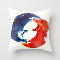 ying yang Throw Pillows featuring Ying yang by Robert Farkas