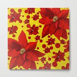 Poinsettia Holiday Pattern Metal Print