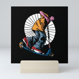 Scooter guy awesome streetwear scooting Mini Art Print