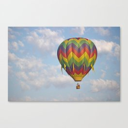 Hot Air Balloon in Picture Perfect Cloudy Sky Canvas Print