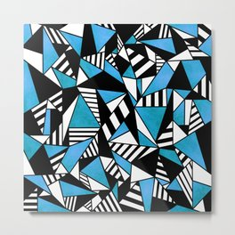 Geometric Blue Metal Print