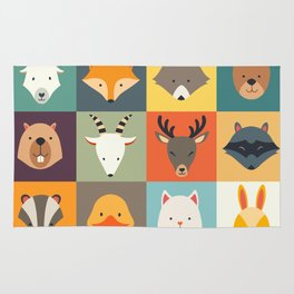 Set of cute animals icons, vector illustrations on colored background. Rug