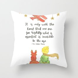 The Little Prince Quote art Throw Pillow