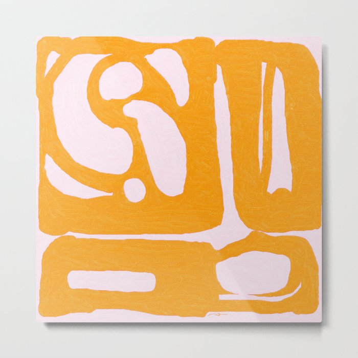 Abstract in Yellow and Cream Metal Print
