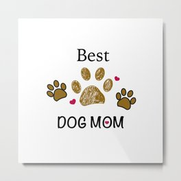 Brown paw print with hearts. Best dog mom Metal Print
