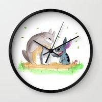 ohana Wall Clocks featuring Ohana Means Family by Avedon Arcade