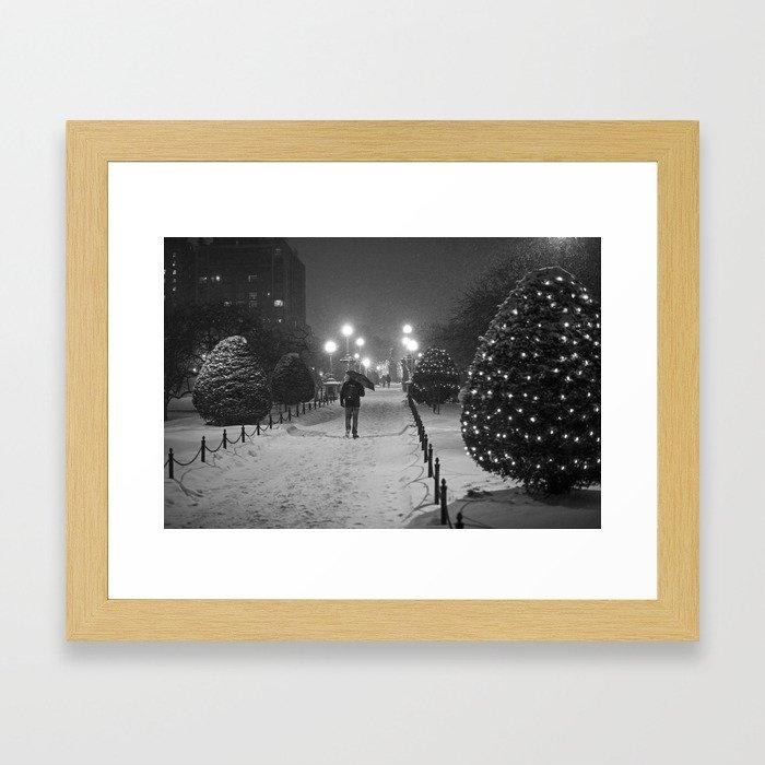 Boston Public Garden Snow Storm Ma Massachusetts Bridge Lights Umbrella Black And White Framed Art Print