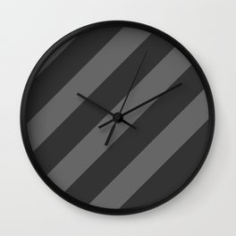 Stripes Diagonal Black & Gray Wall Clock