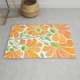 Happy California Poppies / hand drawn flowers Rug