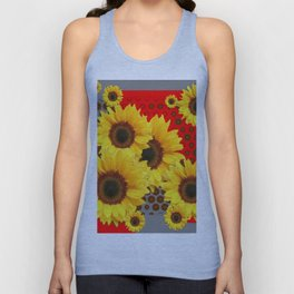 RED-YELLOW SUNFLOWERS GREY ABSTRACT Unisex Tank Top