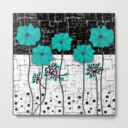 Turquoise flowers on black and white background . Metal Print