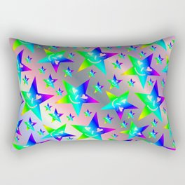 laughing, happy, stars, rainbow colors, pastel, friendly, pattern nursery textile Rectangular Pillow