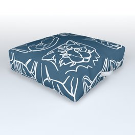 Blue and White Silly Kitty Faces Outdoor Floor Cushion