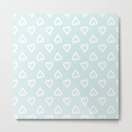 White doodle hearts over blue background Metal Print