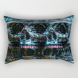 Analogue Glitch Skull Array Rectangular Pillow