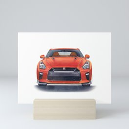 Orange R35 GTR Mini Art Print