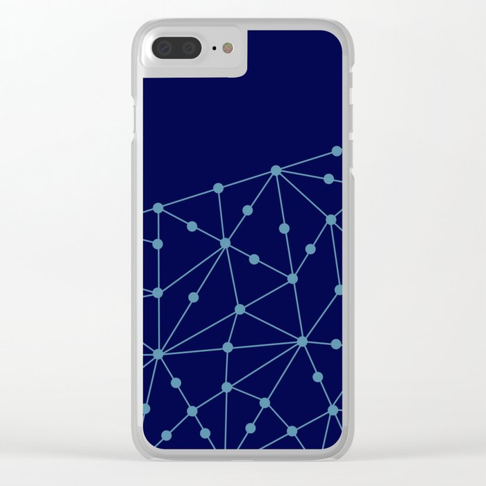 Blue abstract pattern . Mesh Clear iPhone Case